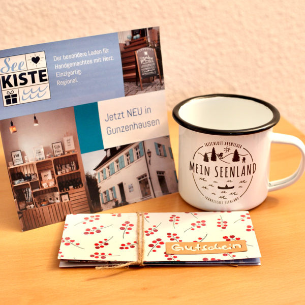 Geschenkset Seekiste + MeinSeenland Emailletasse