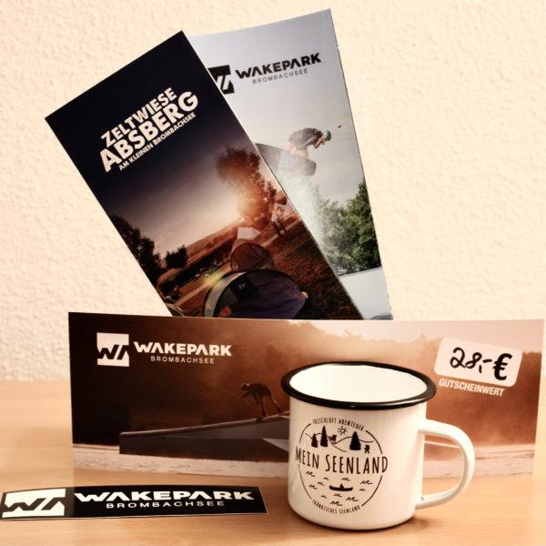 Geschenkset WAKEPARK BROMBACHSEE / Zeltwiese Absberg + MeinSeenland Emailletasse